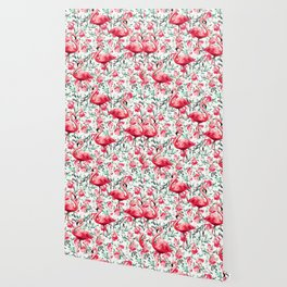 Flowers and Flamingos Wallpaper