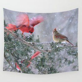 Cardinals Jostling on a Branch in a Snow Storm Wall Tapestry
