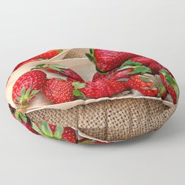 Fresh Strawberries On Wooden Plates And Garlic Bulbs Floor Pillow