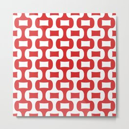 Mid Century Modern Ogee Pattern 308 Red Metal Print