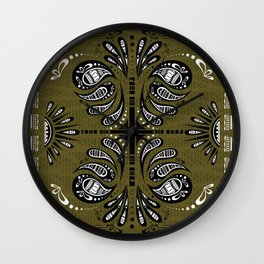 Tribal Paisley Black Green White Wall Clock