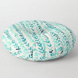 Hand Painted Herringbone Pattern in Mint Floor Pillow