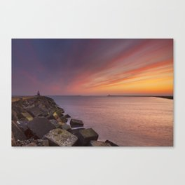 I - Sunset over harbour entrance at sea in IJmuiden, The Netherlands Canvas Print