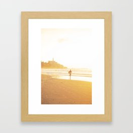 Surfer light, Tel Aviv, Israel Framed Art Print