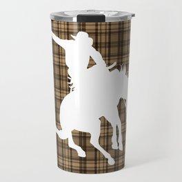 Cowboy and Bronco Plaid Travel Mug
