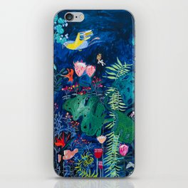 Brightly Rainbow Tropical Jungle Mural with Birds and Tiny Big Cats iPhone Skin