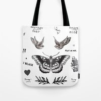 la Tote Bags featuring Tattoo à la Harry by Kate & Co.