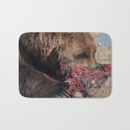 Hungry Alaskan Grizzly Bear - Eating Raw Meat Bath Mat