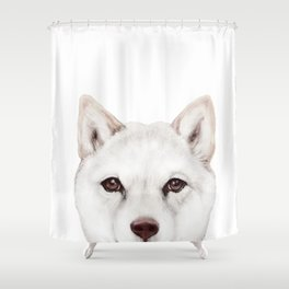 shiba inu white Dog original painting print Shower Curtain