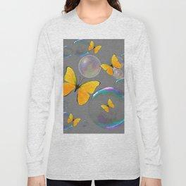IRIDESCENT BUBBLES & YELLOW BUTTERFLIES GREY ART Long Sleeve T-shirt