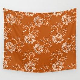 Orange Seaweed Pattern Wall Tapestry