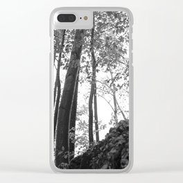 Forest, black and white Clear iPhone Case