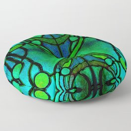 Green and Aqua Art Nouveau Stained Glass Art Floor Pillow