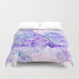 Modern purple pastel pink peacock watercolor hand drawn white floral pattern Duvet Cover