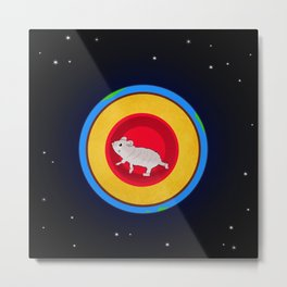 Hamster running the earth Metal Print
