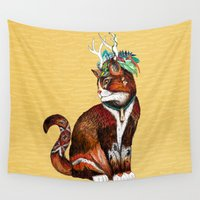 wizard Wall Tapestries featuring Wizard Cat by Sandra Dieckmann