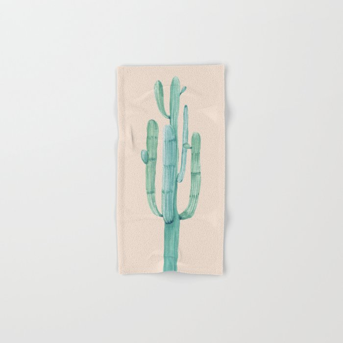 Solo Cactus Mint on Coral Pink Hand & Bath Towel