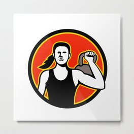 Female Personal Trainer Lifting Kettlebell Mascot Metal Print