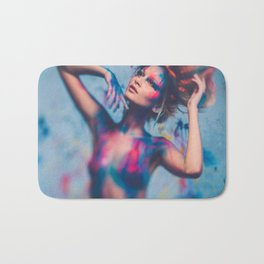 Young woman muse with creative body art and hairdo (14) Bath Mat