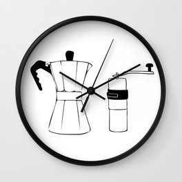 Coffee Tools: Moka Pot & Coffee Grinder Wall Clock