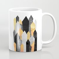 minerals Mugs featuring Black & Yellow Crystals by Elisabeth Fredriksson