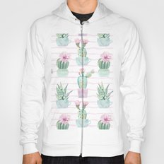 Simply Echeveria Cactus on Desert Rose Pink Wavy Lines Hoody