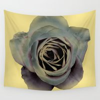 noir Wall Tapestries featuring rose noir by EnglishRose23
