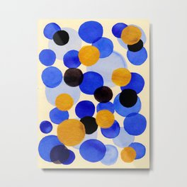 Blue Gold Watercolor Bubbles Circles Painting Metal Print