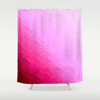 hot pink Shower Curtains featuring Pink Ombre by SimplyChic