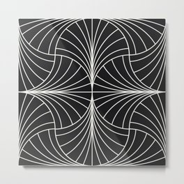 Diamond Series Inter Wave White on Charcoal Metal Print
