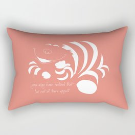 Coral Pantone 2019 and minimal drawing of the cheshire cat - Alice in wonderland quote Rectangular Pillow
