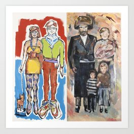 Hipster Couple/Hassidic Family Art Print