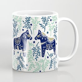 Swedish Dala Horse – Navy & Mint Palette Coffee Mug