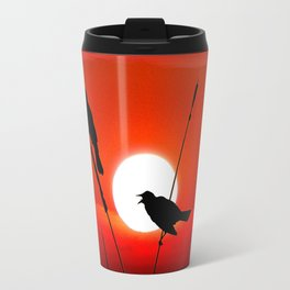 Blackbirds On Red Sunset. Travel Mug