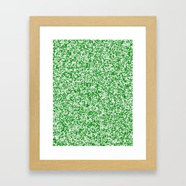 Tiny Spots - White and Green Framed Art Print