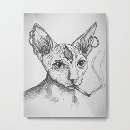 Tired (Sphynx with Cigarette) Metal Print