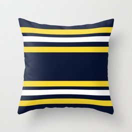 Navy and Yellow Sport Stripes Throw Pillow