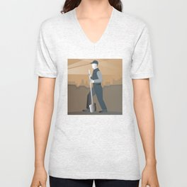 cleaner street sweeper with broom working retro Unisex V-Neck
