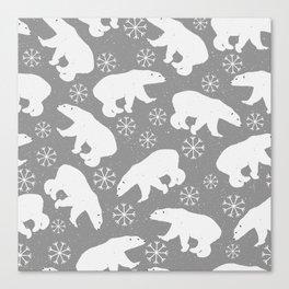Polar bears and Snowflakes - gray Canvas Print