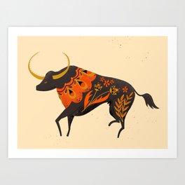 Bull Folk Art Illustration Art Print