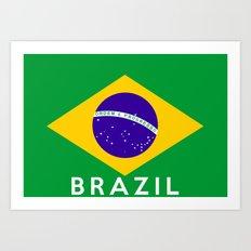 Brazil country flag name text Art Print