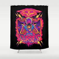 jojo Shower Curtains featuring MOJO JOJO: CURSES by BeastWreck
