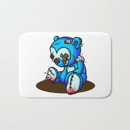 Teddy's Had a Rough Life: Zombie Teddy (Painting) Bath Mat