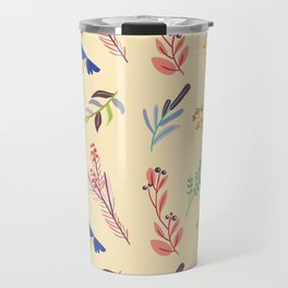 Cute hand painted blue coral ivory bird floral pattern Travel Mug