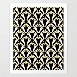 Black, White and Gold Classic Art Deco Fan Pattern Art Print