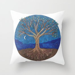 Chakra Tree Throw Pillow