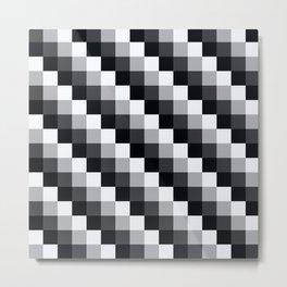 Black And White Geometric Pixel Mosaic Pattern Metal Print