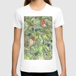 Robins in Blackberry Bush T-shirt