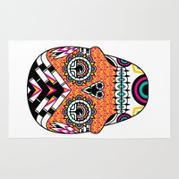 deco Area & Throw Rugs featuring Deco Skull by Jorge Garza