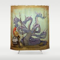 hydra Shower Curtains featuring Young Greek warrior versus the Hydra by Ken Rolston